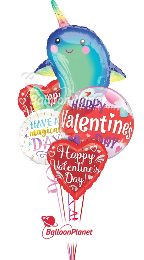 Happy Narwhal Mix AValentine's Balloon Bouquet5 BalloonsZ 234