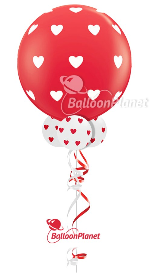 Big Red w/Hearts & CollarValentine's Balloon Bouquet5 BalloonsZ 34