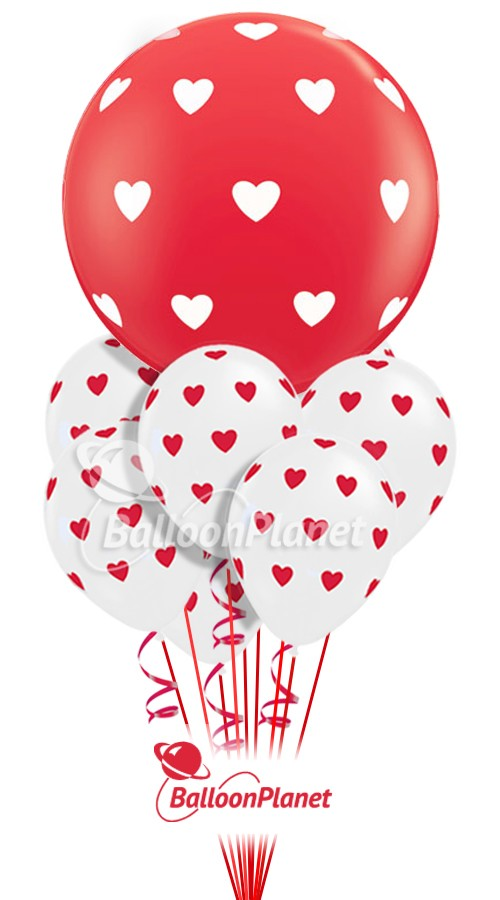 Big Red w/Hearts in CloudValentine's Balloon Bouquet14 BalloonsZ 34