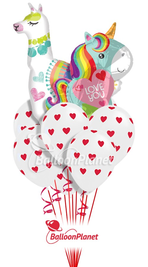 Llama & Unicorn CloudValentines Balloon Bouquet11 BalloonsZ 234
