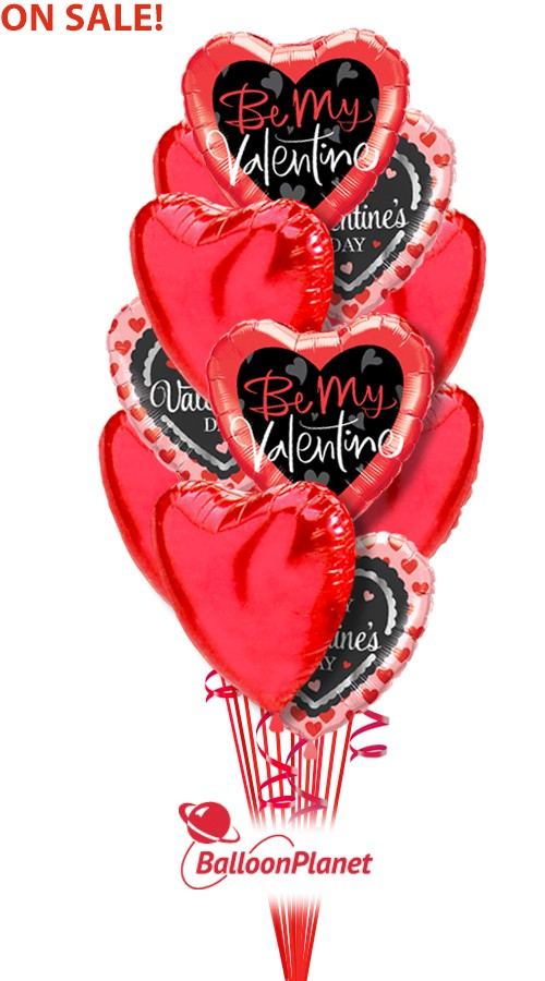 Mix Of Hearts Valentines Balloon Bouquet
