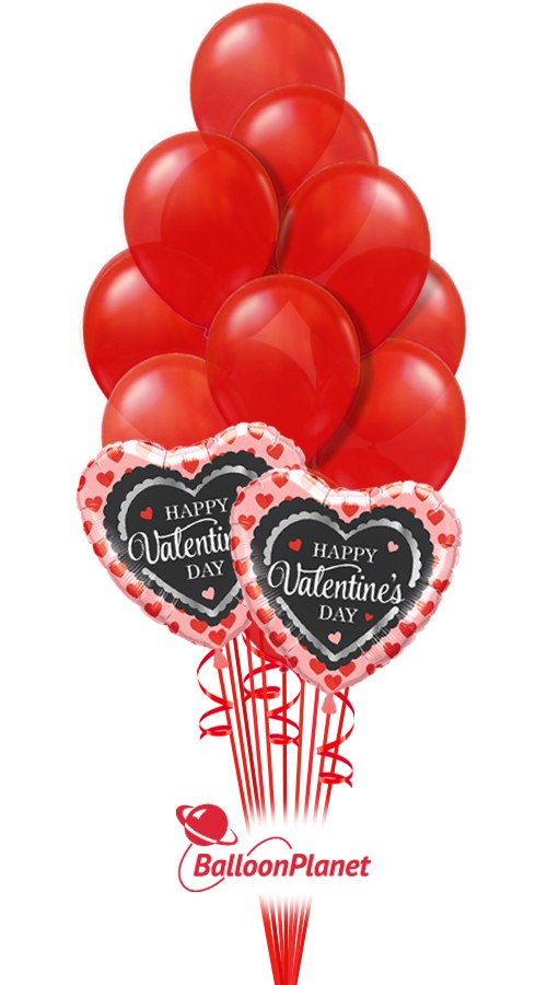 Simply Red LatexValentine's Balloon Bouquet16 BalloonsZ 1234