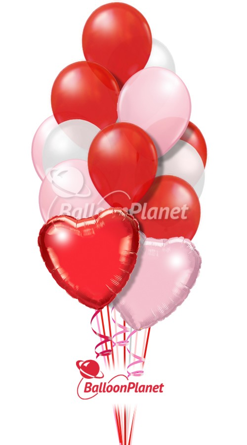 Red, White, & PinkValentine's Bouquet14 BalloonsZ 1234