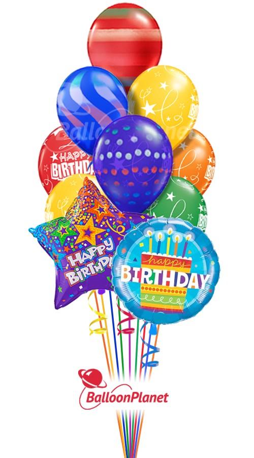 Happy Birthday Air Spray Mix Balloon Bouquet 12 Balloons