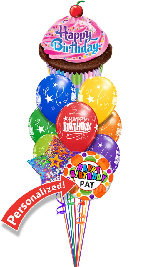 Custom NameBirthday CupcakeBalloon Bouquet (12 Balloons)