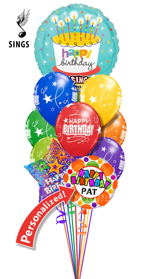 Custom Name Singing Combo Birthday Bouquet 12 Balloons Item HBD 2003 7995 USD More Details