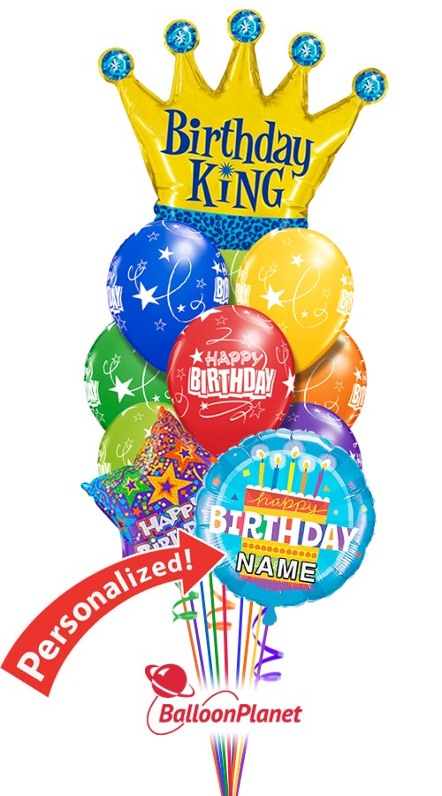 Custom NameBirthday KingBalloon Bouquet (12 Balloons)