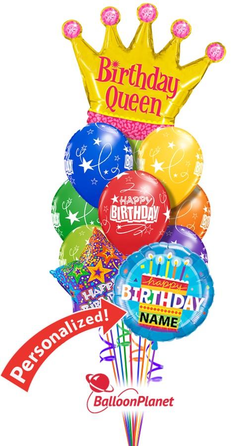 Custom Name Birthday Queen Balloon Bouquet 12 Balloons