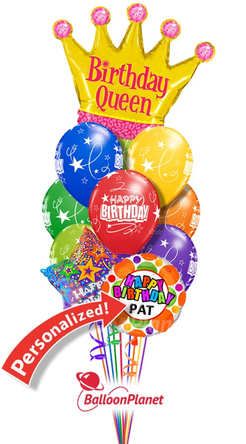 Custom Name Birthday Queen Balloon Bouquet 12 Balloons Item HBD 2005 6995 USD More Details