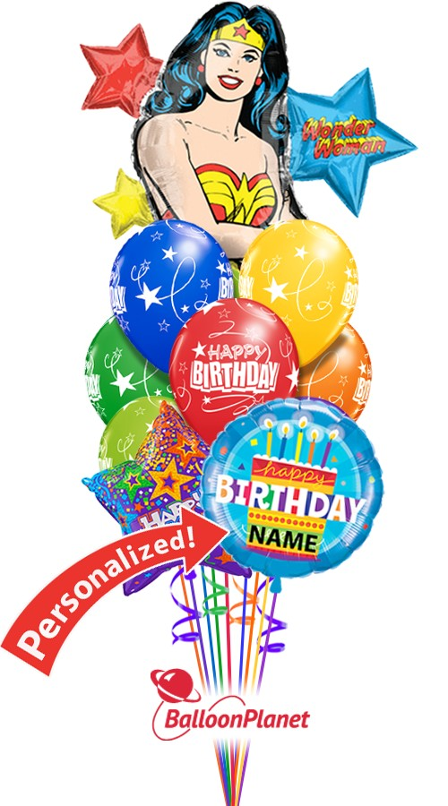 Custom Name Wonder Woman Birthday Bouquet 12 Balloons Balloon Delivery By Balloonplanet Com
