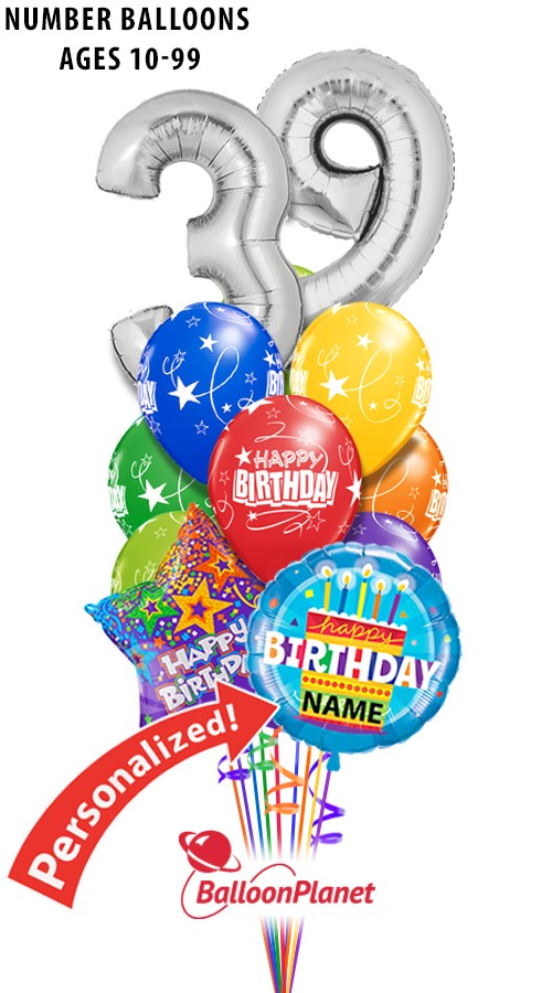 Custom Age Name Big Numbers Birthday Bouquet 13 Balloons Item HBD 2012 9595 USD More Details