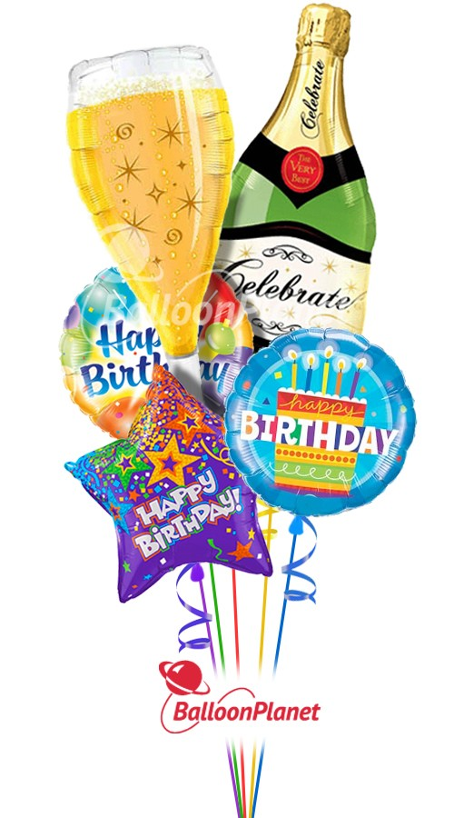 Happy Birthday Champagne Combo Balloon Bouquet 5 Balloons Item HBD 3001 6995 USD More Details