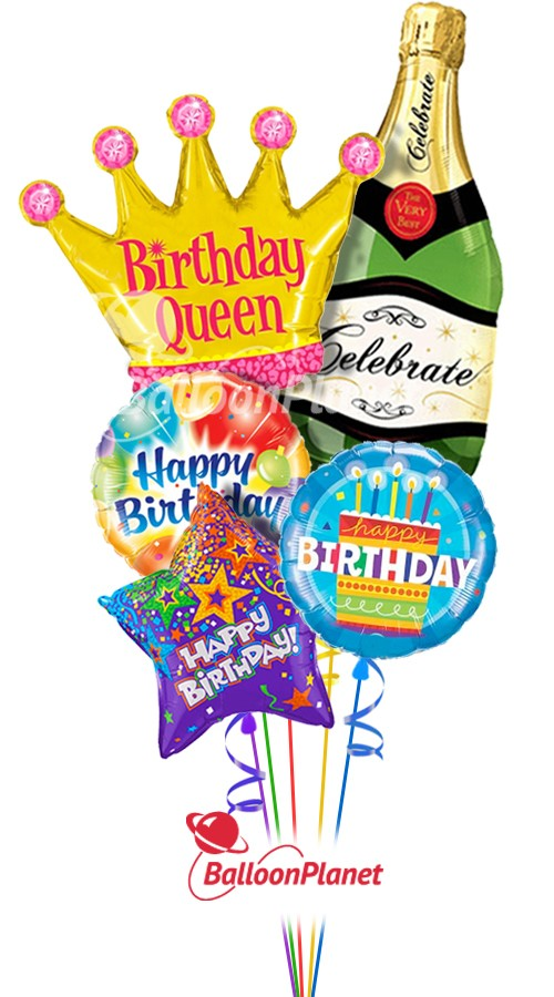Happy Birthday Queen Bubbly Combo Balloon Bouquet (5