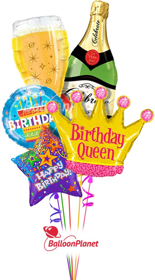 Happy BirthdayQueen Bubbly ComboBalloon Bouquet (5 Balloons)Z 1234
