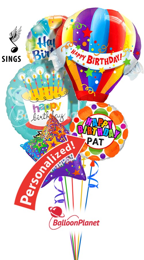 Custom Name Balloon Ride Combo Singing Bouquet 5 Balloons Item HBD 3006 7995 USD More Details