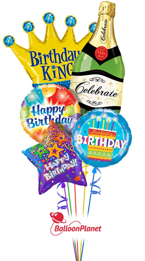 Happy BirthdayKing Bubbly ComboBalloon Bouquet (5 Balloons)