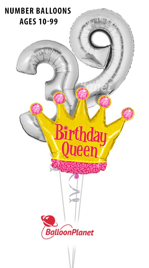 Custom AgeBirthday QueenBalloon Bouquet  (3 Balloons)Z 1234