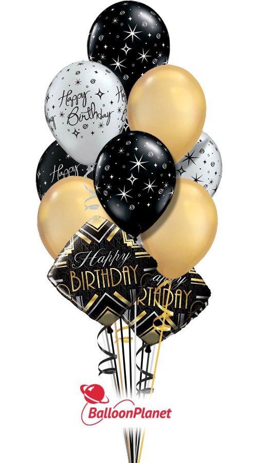 Elegant BirthdaySilver Gold BlackBalloon Bouquet (12 Balloons)