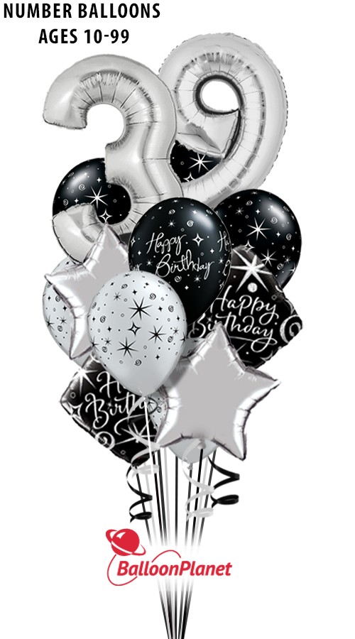 Elegant AgeBig Numbers SilverPure Madness Bouquet (16 Balloons)