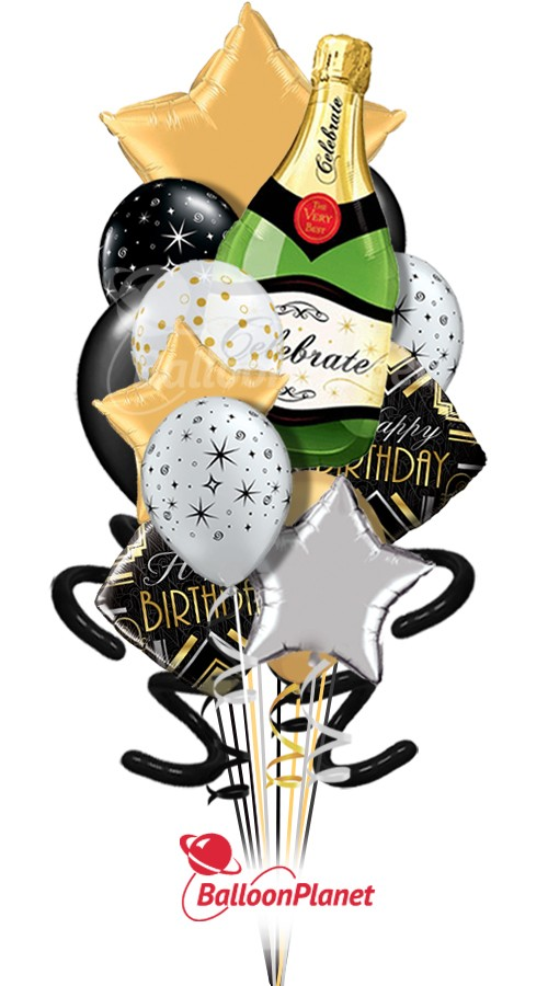 Elegant BirthdayBubbly GoldPure Madness Bouquet (17 Balloons*)