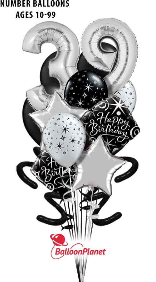 Elegant BirthdaySilver Age ComboPure Madness Bouquet (17 Balloons*)