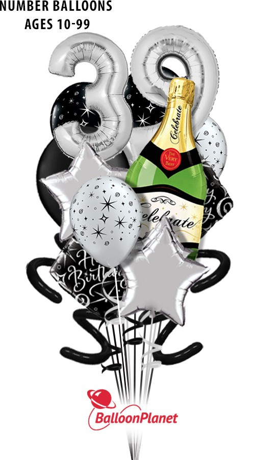 Elegant BirthdaySilver Age BubblyPure Madness Bouquet (18 Balloons*)