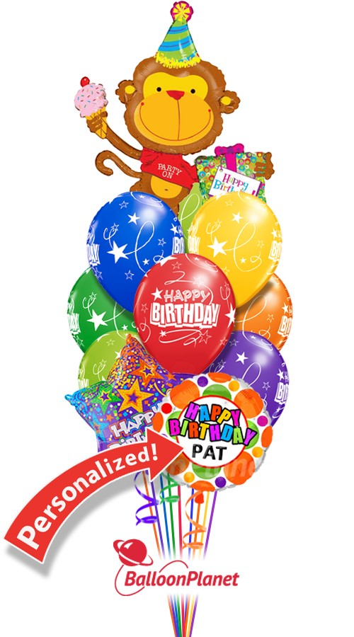 Custom Name Party Monkey Birthday Bouquet 12 Balloons Item HBD 2010 6995 USD More Details