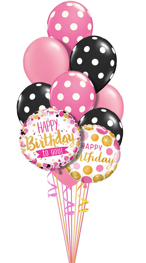 Happy Birthday Pink Black Dots Balloon Bouquet 12 Balloons