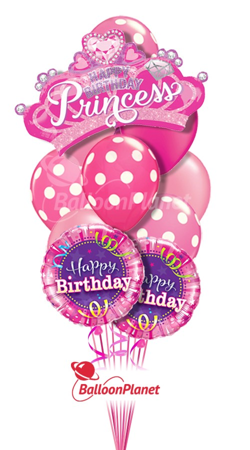 Happy Birthday Princess Pink Balloon Bouquet 13 Balloons