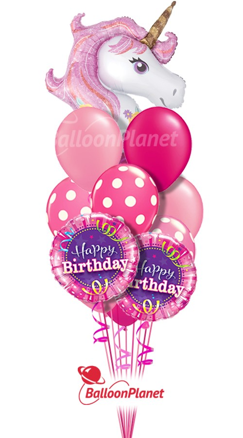 Happy BirthdayMagic Unicorn IBalloon Bouquet (12 Balloons)