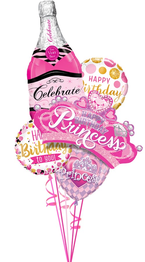 Happy Birthday Bubbly Princess Balloon Bouquet 5 Balloons