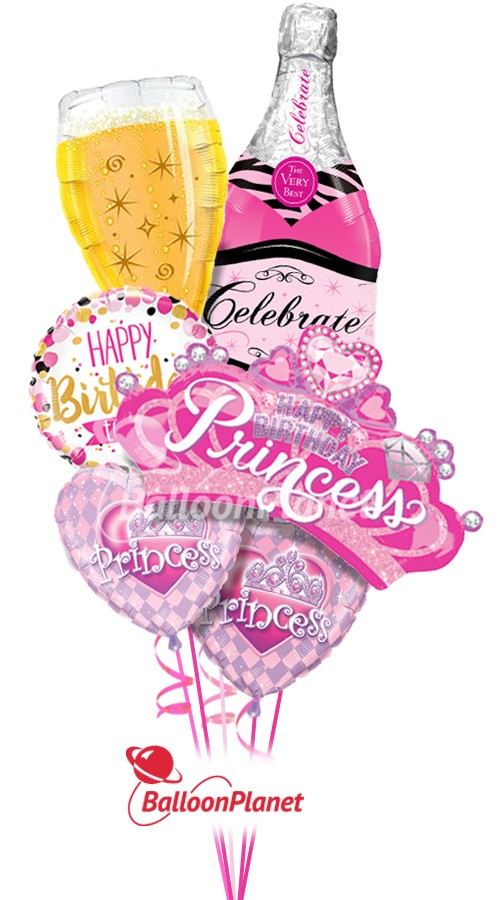 Happy BirthdayVery Bubbly PrincessBalloon Bouquet (6 Balloons)
