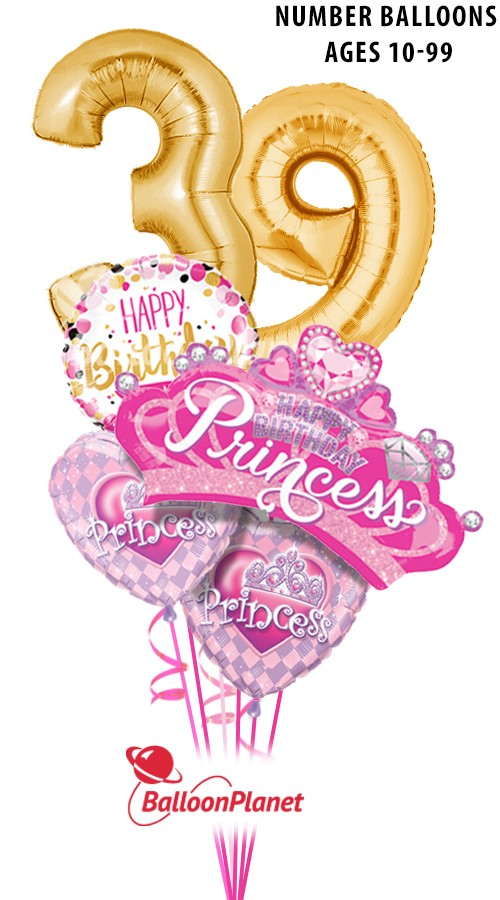 Custom Age GoldBig Number PrincessBirthday Bouquet (6 Balloons)