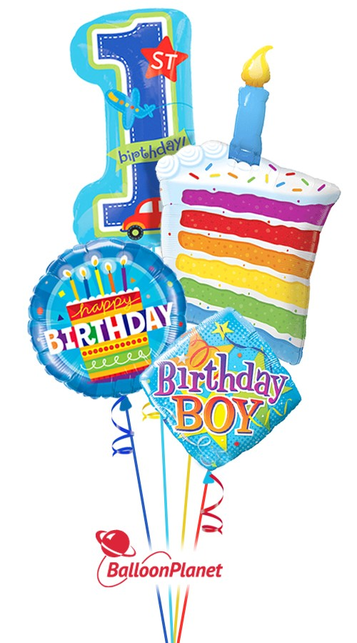 Remarkable 1St Birthday Boy Cake Candle Balloon Bouquet 4 Balloons Funny Birthday Cards Online Alyptdamsfinfo