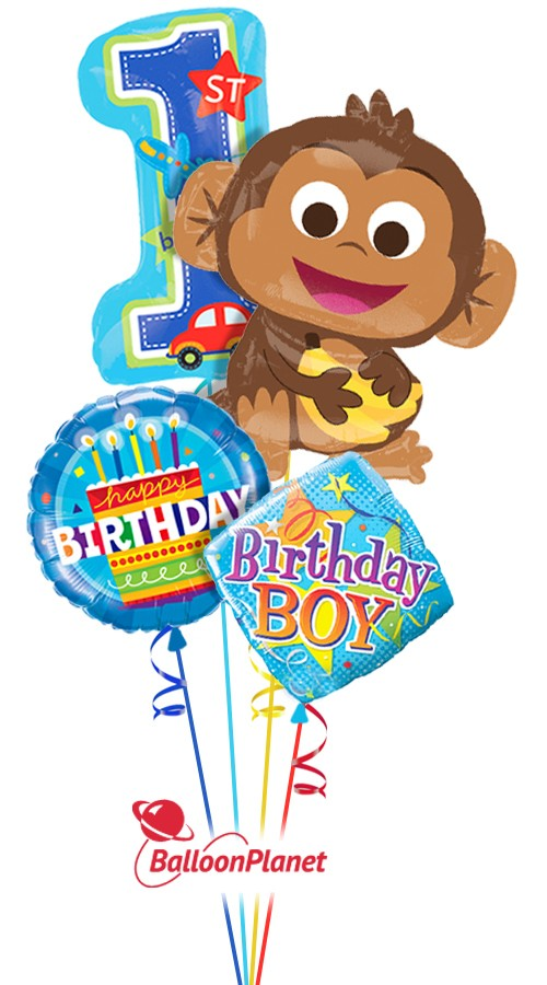 1st Birthday BoyHappy MonkeyBalloon Bouquet (4 Balloons)