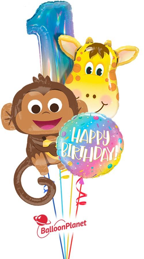 First Birthday Boy Monkey Giraffe Balloon Bouquet 4 Balloons