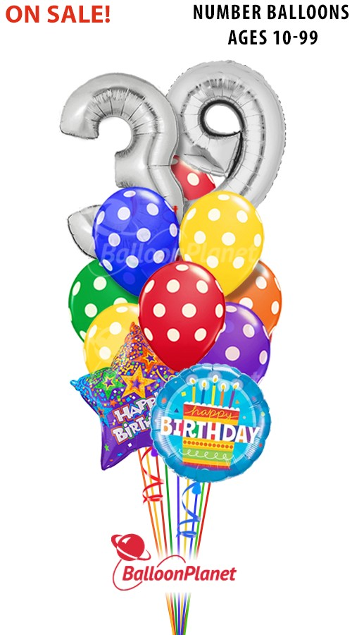 Custom Age Big Numbers Birthday Bouquet 13 Balloons Item HBD 2013 8995 USD More Details