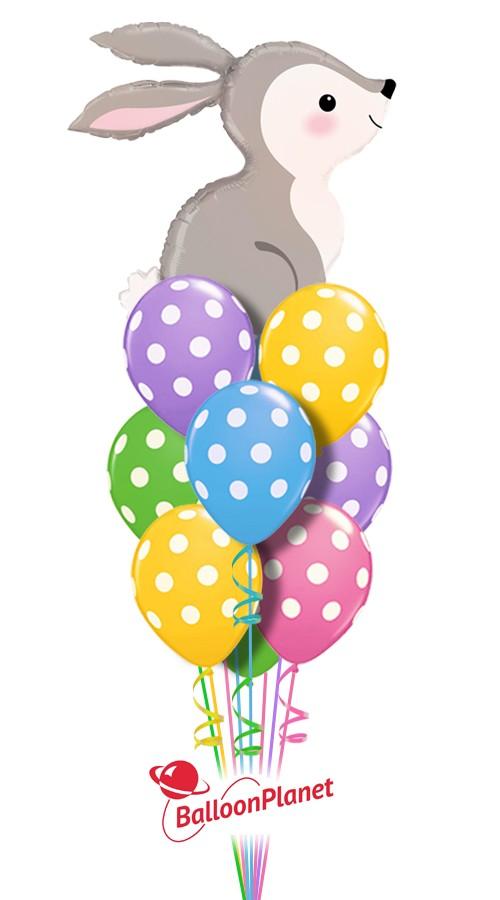 Easter Bunny Polka Dots Balloon Bouquet