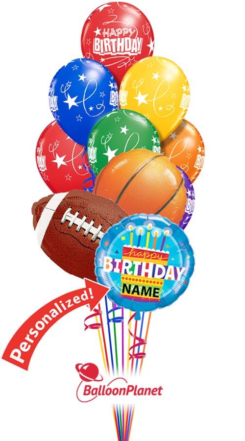 Custom Name Sports Mix No 2 Birthday Bouquet 13 Balloons