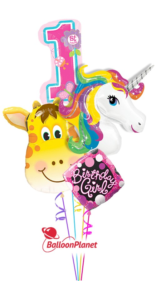 First Birthday GirlUnicorn & GiraffeBalloon Bouquet (4 Balloons)