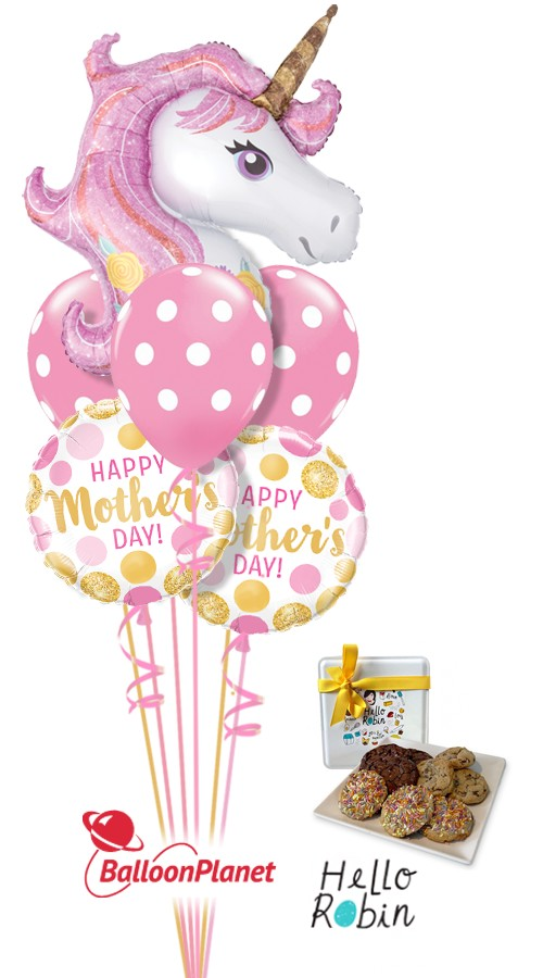 Mothers Day Unicorn Magic Balloon Cookie Bouquet 6 Balloons Item MOM 304S 7995 USD More Details