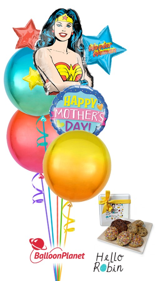 Mothers Day Wonder Woman Balloon Cookie Bouquet 5 Balloons