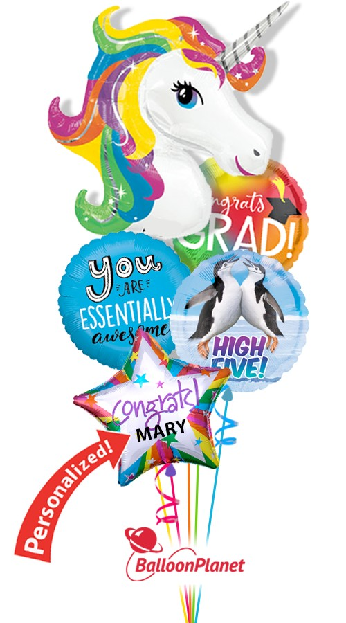 Rainbow UnicornGrad Balloon BouquetNot Personalized (4 Balloons)