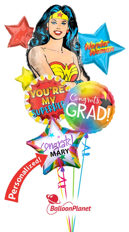 Wonder WomanGrad Balloon BouquetPersonalized Name (4 Balloons)