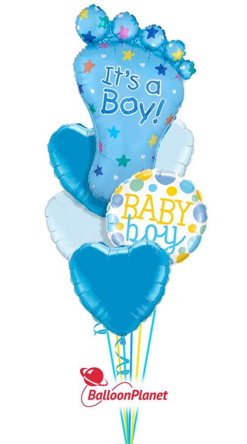 It's A Boy Big FootNot PersonalizedBalloon Bouquet (7 Balloons)HOSPITAL NO