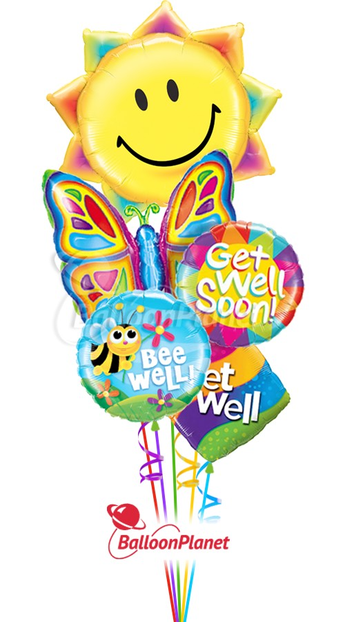 Sunshine & ButterflyGet Well Balloon Bouquet(5 Balloons)