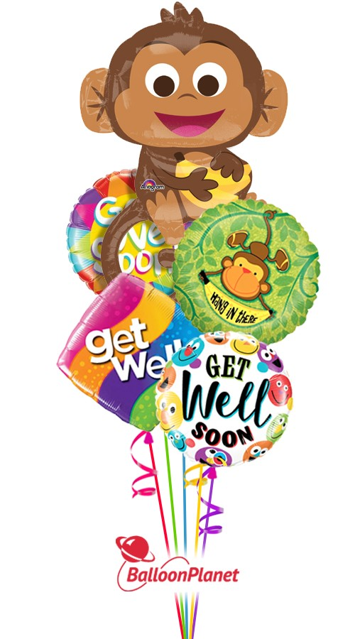 Hang in There Buddy!Get Well Balloon Bouquet (5 Balloons)