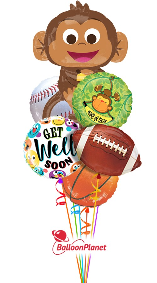 Hang in There SportGet Well Balloon Bouquet (6 Balloons)