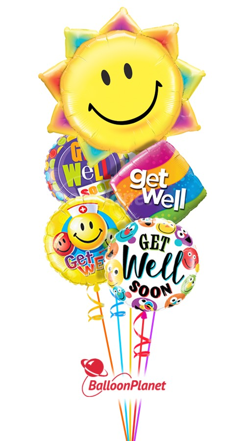 Sunshine Smiles IGet Well Balloon Bouquet (5 Balloons)