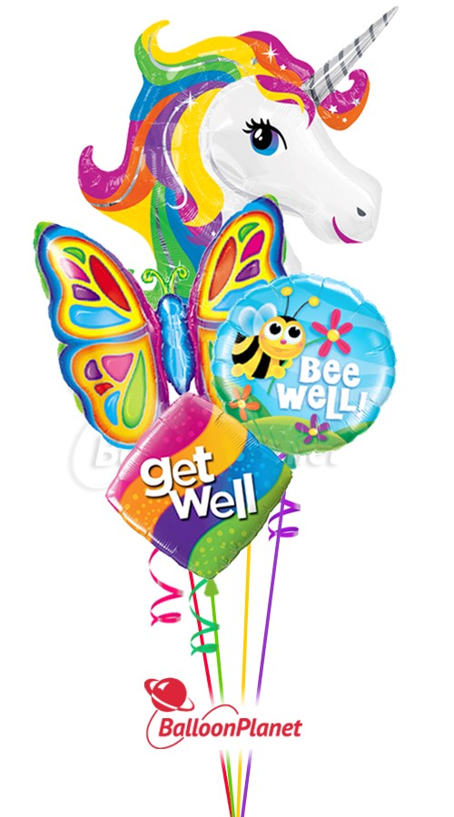 Rainbow Unicorn & ButterflyGet Well Balloon Bouquet (4 Balloons)